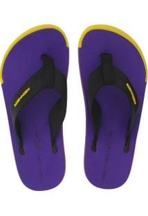 Chinelo Kenner Kick.S Colors - Masculino - Roxo/Amarelo