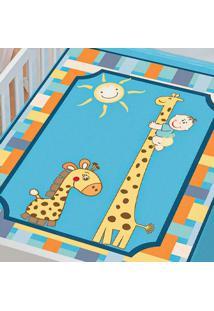 Cobertor Infantil Jolitex Tradicional Girafinhas Azul Masculino - Kanui