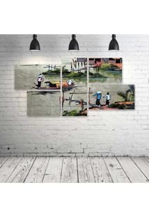 Quadro Decorativo - Viet-Nam532 - Composto De 5 Quadros - Multicolorido - Dafiti