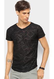 Camiseta Watkins & Krown Geométrica Masculina - Masculino-Preto