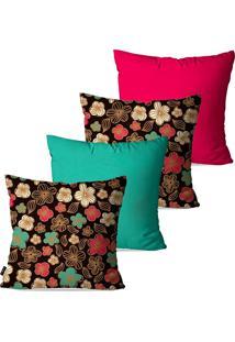 Kit Com 4 Capas Para Almofadas Pump Up Decorativas Coloridas Flores 45X45Cm