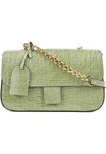Bolsa Couro Shoestock Flap Croco Color Chain Feminina - Feminino-Verde Claro