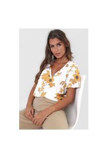 Camiseta Lança Perfume Floral Off-White/Bege