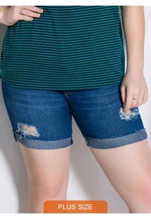 Bermuda Azul Jeans Comfort Puídos