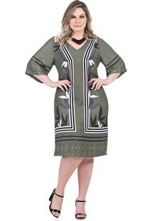 Vestido Reto, Curto Talento Verde