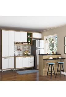 Cozinha Compacta 11 Portas 3 Gavetas Sem Tampo Com Bancada 5845 Branco/Argila - Multimóveis