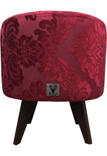 Puff Pã© Palito Redondo Alce Couch Jacquard Classic Vermelho 40Cm - Vermelho - Dafiti