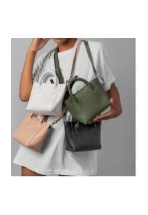 Bolsa Sacola Feminina Estruturada Verde Militar - Vegatta Bia
