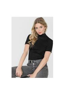 Blusa Tricot Calvin Klein Jeans Gola Alta Preta