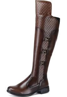 Bota Cano Longo Sw Shoes Montaria Over Knee Cappuccino - Marrom - Feminino - Dafiti