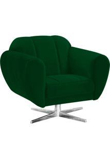 Poltrona Decorativa Melissa Suede Verde Com Base Estrela Giratória Em Aço Cromado - D'Rossi