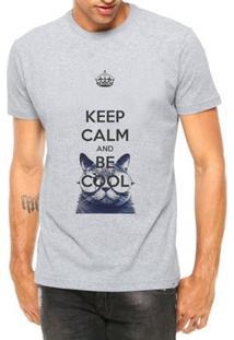 Camiseta Criativa Urbana Keep Calm And Be Cool Gato - Masculino-Cinza