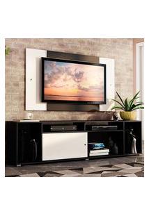 Rack Madesa Cancun E Painel Para Tv Até 58 Polegadas - Preto/Branco 7773 Preto