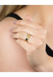 Aliança De Ouro 18K Fosca Com Friso Polido E Diamantes Rodinados (6,10Mm)