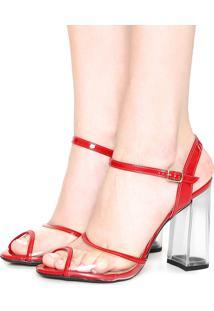 Sandália Dafiti Shoes Salto Acrílico Vermelho