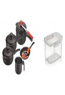 Kit Pote Plástico Para Microondas + Conjunto De 5 Panelas