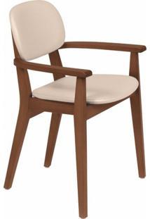 Cadeira Estofada Com Braços London Tramontina Amêndoa/Bege