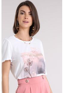 Blusa Feminina Acetinada Com Estampa Floral Manga Curta Decote Redondo Off White