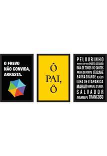 Conjunto Com 3 Quadros Decorativos Frevo Preto E Amarelo