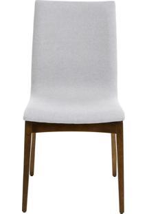 Cadeira Fidalga - Base Amãªndoa E Tecido Cinza Claro