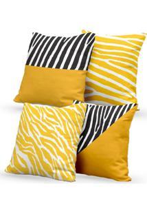 Kit 4 Capas De Almofadas Decorativas Own Estampas Zebra Preta E Amarela 45X45 - Somente Capa