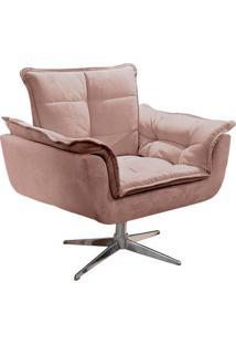 Poltrona Decorativa Brandson Rosé Em Veludo Base Giratória Orion