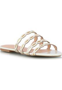 Sandália Rasteira Branca E Ouro Metalizado Com Tiras