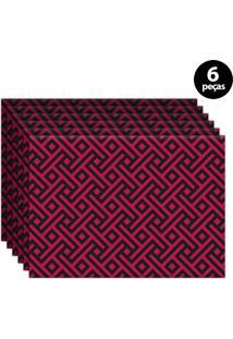 Jogo Americano Mdecore Geométrico 40X28Cm Pink 6Pçs