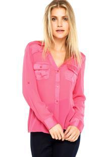 Camisa Manga Longa Aishty Recorte Acetinada Rosa