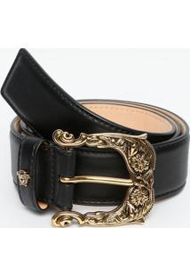 Cinto Em Couro Com Tag Da Marca - Preto & Dourado - Versace