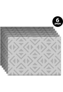 Kit 6Pçs Jogo Americano Mdecor Abstrato 40X28Cm Cinza