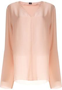 Osklen Blusa Decote Em V De Seda - Rosa