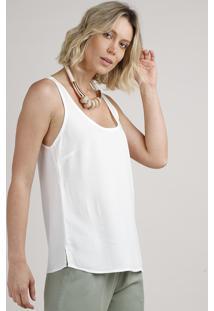 Regata Feminina Com Lurex Decote Redondo Off White