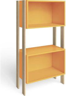 Estante Para Livros 2 Nichos Retrô Rt3092 Amarelo/Nature - Móvel Bento