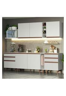 Cozinha Completa Madesa Reims 260006 Com Armário E Balcão Branco Branco