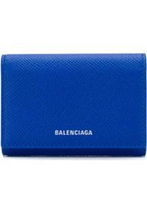 Balenciaga Carteira Mini Com Estampa De Logo - Azul