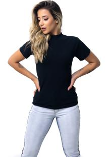 Camiseta Vicbela Gola Alta Preto - Ref: 053