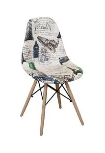 Cadeira Eiffel Charles Eames Estofada Paris Creme F01 Base Madeira - M