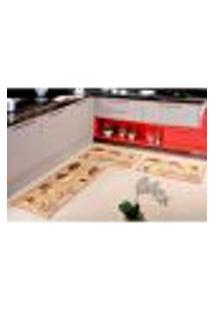 Tapete De Cozinha Estampado Cupcake Antiderrapante 3 Peças Bege Veludo