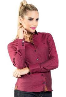 Camisa Slim Quadriculada Carlos Brusman Feminina - Feminino-Bordô