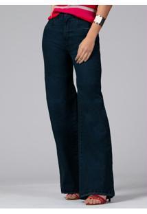 Calça Pantalona Com Bolsos Jeans Escuro