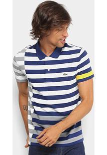 Camisa Polo Lacoste Piquet Recorte Listras Striped Masculina - Masculino-Marinho+Branco
