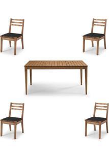 Conjunto Dubai Mesa + Cadeiras Assento Corda Preta - 60478 - Sun House