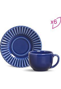 Jogo De Xícaras De Chá Plissé - Azul Escuro - 6Pçs