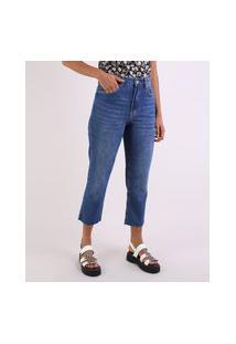 Calça Jeans Feminina Reta Cintura Alta Com Barra A Fio Azul Escuro