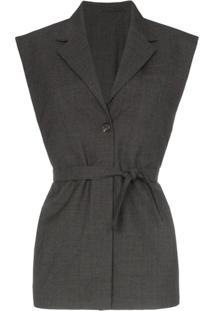 Wright Le Chapelain Sleeveless Long Wool Blazer - Cinza
