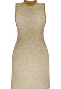 Eckhaus Latta Vestido Mini Bicolor Com Vazado - Neutro
