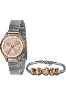 Relógio Lince Feminino Analógico Prata Com Kit Semijóia - Lrt4676L-Kn02S1Sx