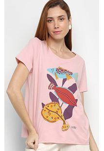 Camiseta Cantão Fish Manga Curta Feminina - Feminino-Rosa