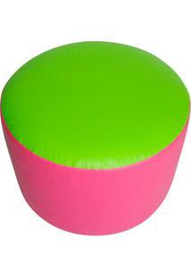 Puff Redondo Junior Corino Verde E Rosa